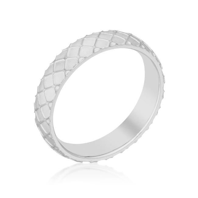 Textured Stainless Steel Band Ring - R08435RV-V00