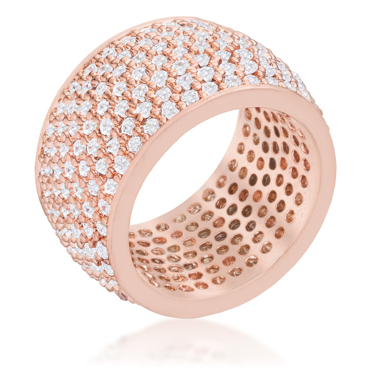 Wide Pave Cubic Zirconia Rose Gold Band Ring - R08448A-C01