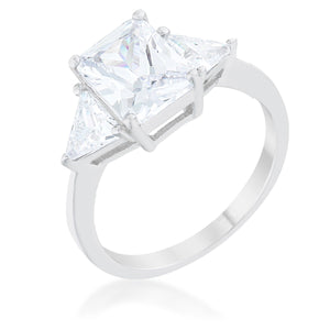 Classic Clear Rhodium Engagement Ring - R08451R-C01