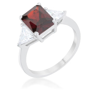 Classic Garnet Rhodium Engagement Ring - R08451R-C13