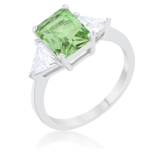 Classic Apple Green Rhodium Engagement Ring - R08451R-C41