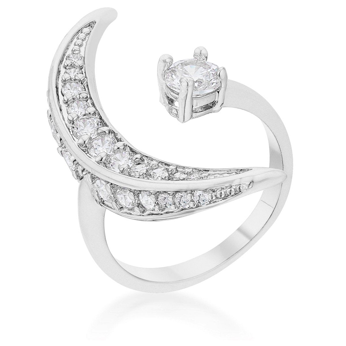 Luna .75ct CZ White Gold Rhodium Delicate Ring - R08459R-C01