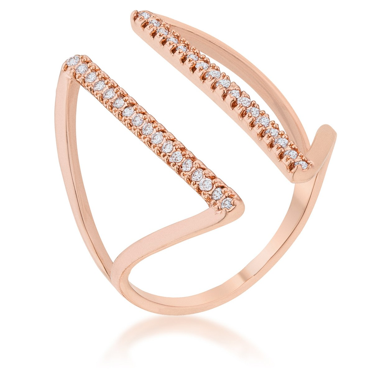 Jena 0.2ct CZ Rose Gold Delicate Parallel Ring - R08460A-C01