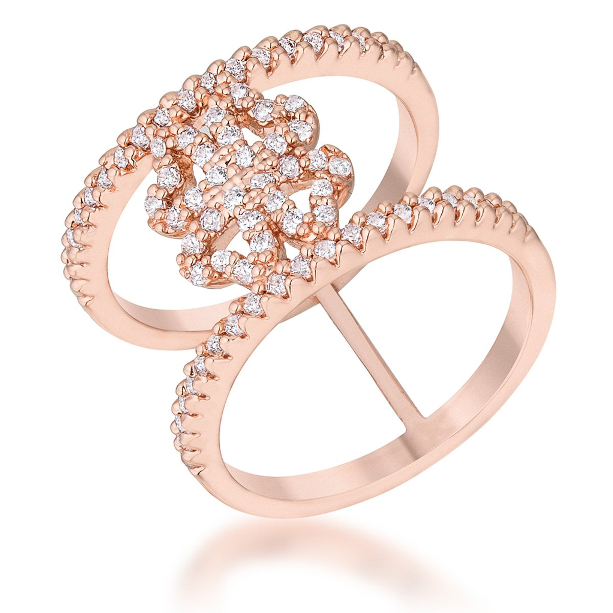 Lauren 0.4ct CZ Rose Gold Delicate Clover Wrap Ring - R08462A-C01