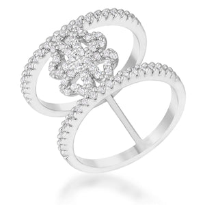Lauren 0.4ct CZ Rhodium Delicate Clover Wrap Ring - R08462R-C01