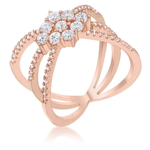 Mindy 0.8ct CZ Rose Gold Delicate Triple Wrap Ring - R08463A-C01
