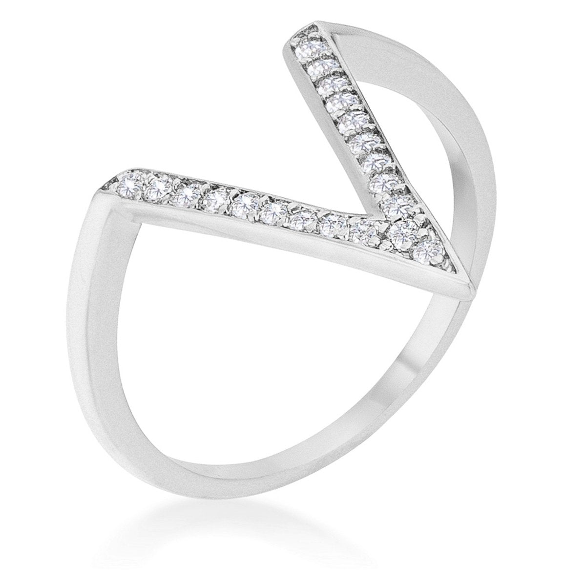 Michelle 0.2ct CZ Rhodium Delicate V-Shape Ring - R08464R-C01