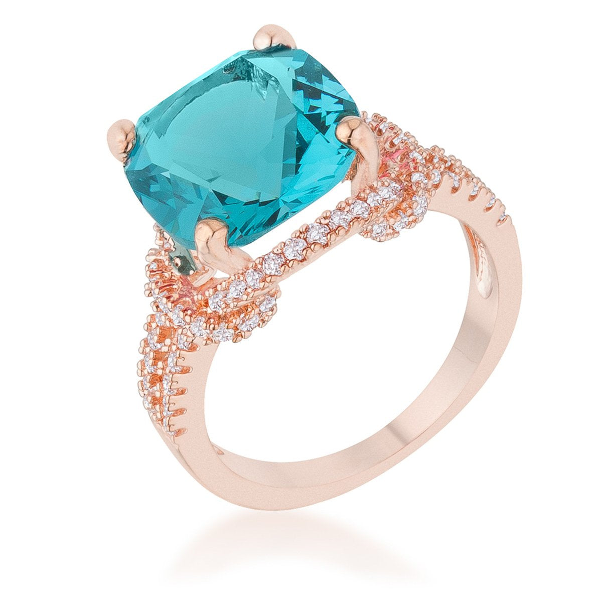 Charlene 6.2ct Aqua CZ Rose Gold Classic Statement Ring - R08465A-C32