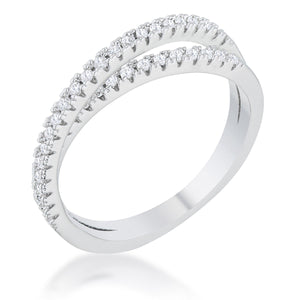 Mara 0.4ct CZ Rhodium Intertwined Simple Ring - R08470R-C01