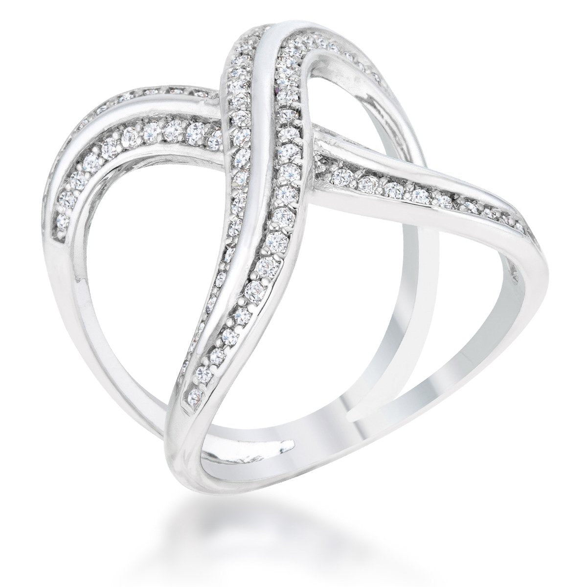 Christa 0.4ct CZ Rhodium Pave X Ring - R08480R-C01