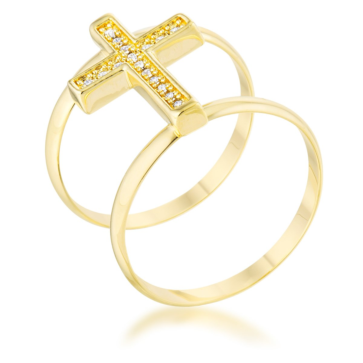 Francis 0.08ct CZ 14k Gold Contemporary Cross Ring - R08486G-C01