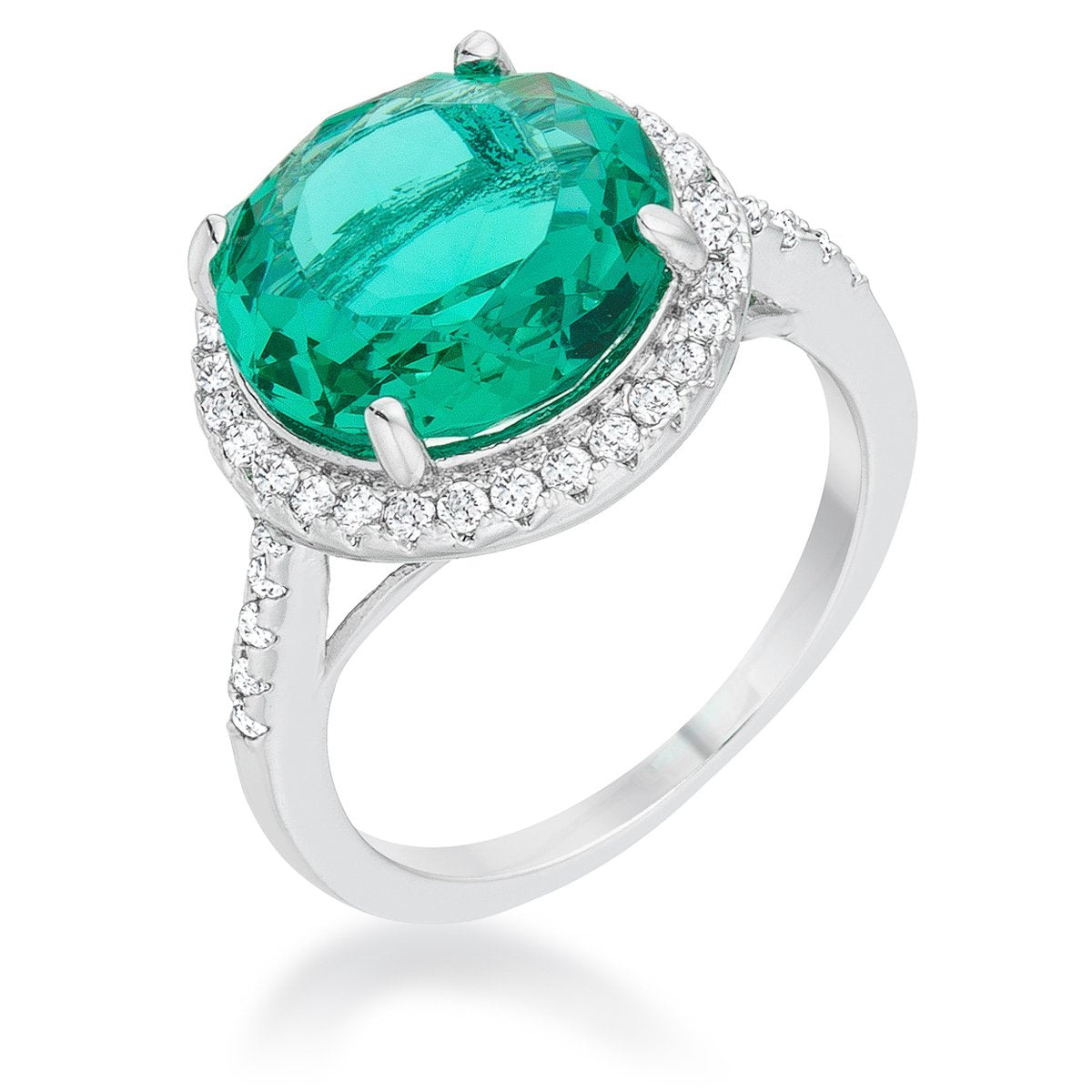 Emie 7.3ct Blue Green CZ Rhodium Classic Ring - R08493R-C46