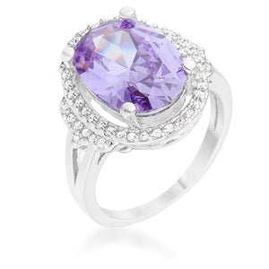 Melanie 5.95ct Amethyst CZ Rhodium Cocktail Ring - R08498R-C20