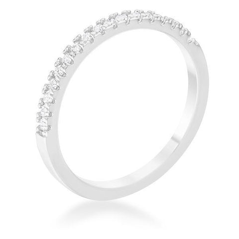 0.11ct CZ Rhodium Plated Classic Band Ring With Round Cut Cubic Zirconia In A Pave Setting - R08533R-C01