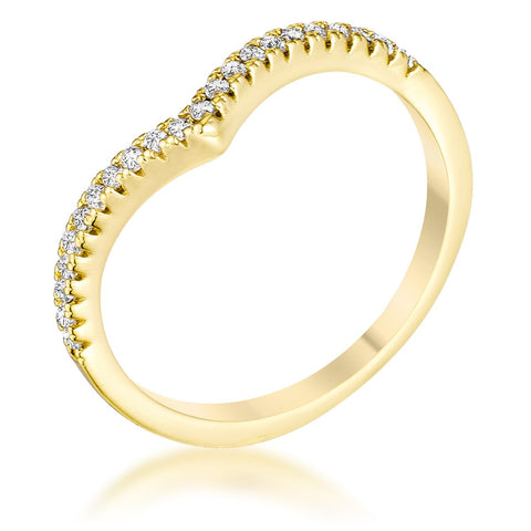 .22Ct Goldtone Chevron Ring with CZ - R08569G-C01