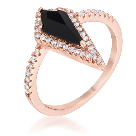 1.4Ct Rose Goldtone Trendy Prism Onyx CZ Ring - R08570A-C03