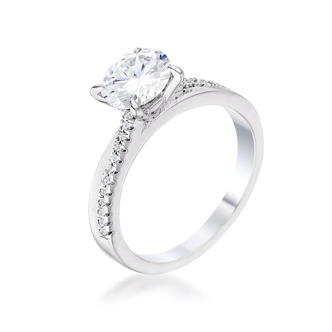 1.4Ct Contemporary Dainty Rhodium Plated Clear CZ Engagement Ring - R08571R-C01