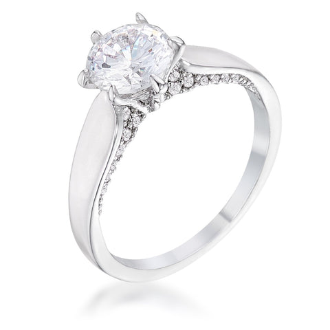 1.56Ct Contemporary Rhodium Plated CZ Solitaire Ring - R08575R-C01