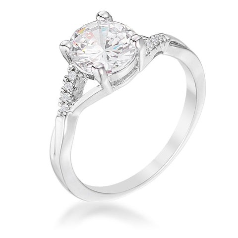 1.3Ct Rhodium Plated Simple Engagement Ring - R08576R-C01