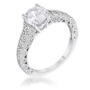 1.55Ct Antique Rhodium Plated CZ Pave Engagement Ring - R08577R-C01