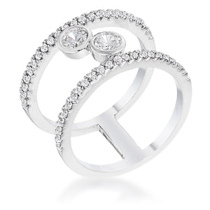 .86Ct Rhodium Plated Floating Bubbles CZ Ring - R08582R-C01