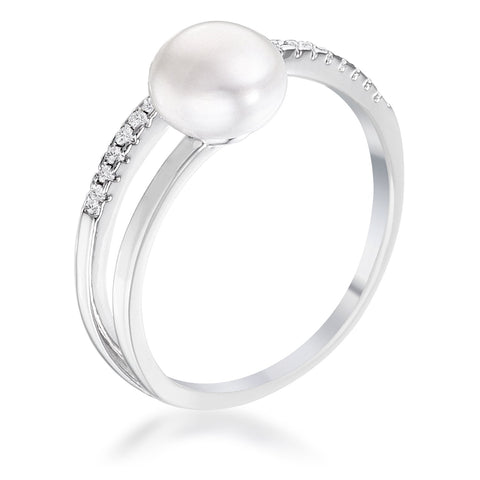 .15Ct Rhodium Plated Freshwater Pearl Ring With CZ Micro Pave Band - R08592R-C84