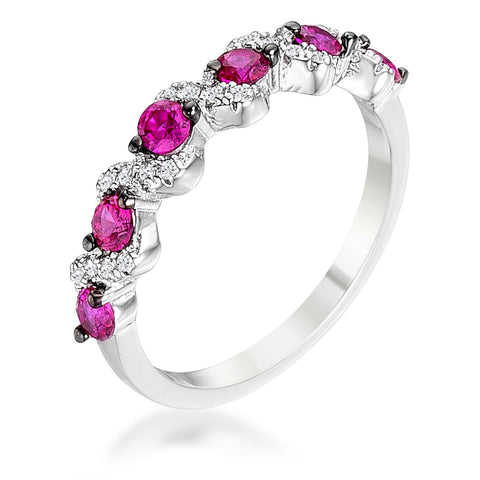 .18Ct Rhodium and Hematite Plated S Shape Fuschia and Clear CZ Half Eternity Band - R08598T-C17