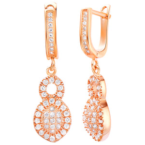 White Gold Plated Rose Gold Earrings LSR226