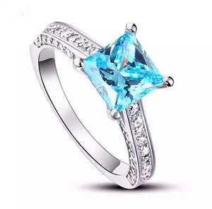 1.5 Ct Princess Cut Blue Solid 925 Sterling Silver Engagement  Ring CFR8196