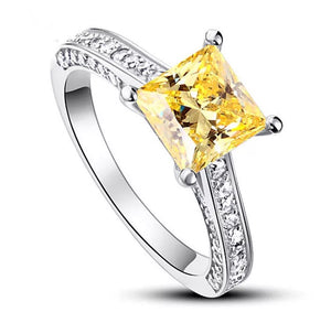 1.5 Ct Princess Cut Citrine Solid 925 Sterling Silver Engagement  Ring CFR8196