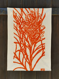 Handprinted Tea-towel – Orange Grevillea