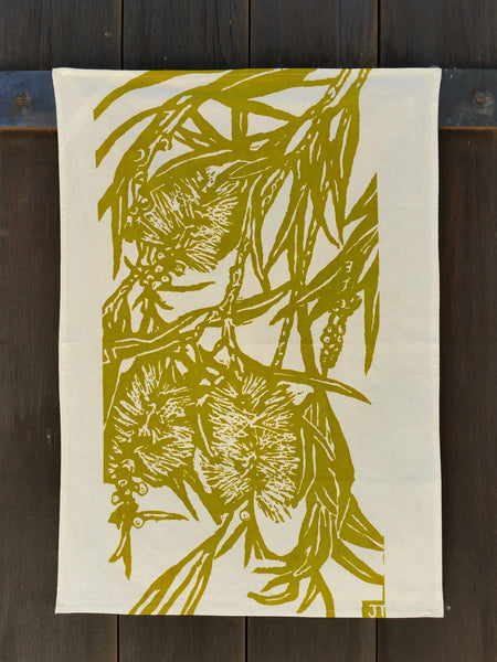 Jude Taylor handprinted Bottlebrush Teatowel