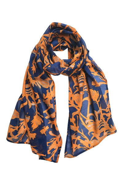 'Kangaroo Paw' Fine Cotton Scarf in Cobalt