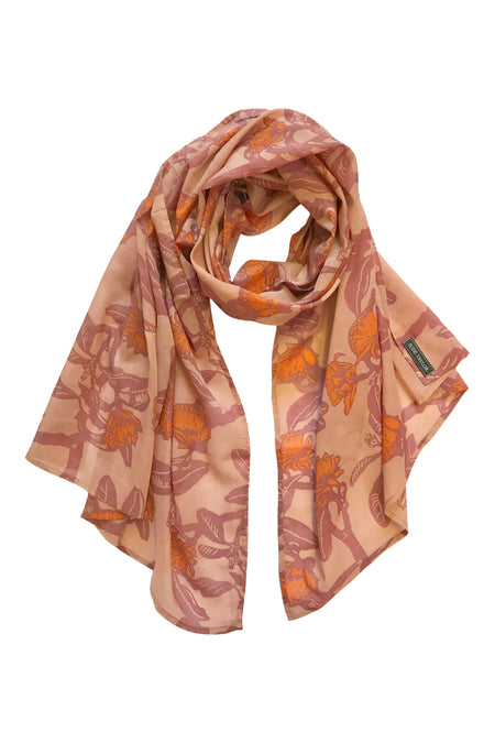 'Shark Bay Rose' Fine Cotton Scarf in Tangerine