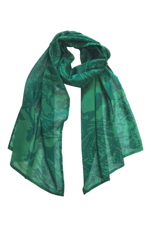 'Botanical Banksia' Fine Cotton Scarf in Emerald