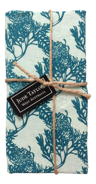 SALE - 25% OFF - Handprinted Napkin Set - Grevillea