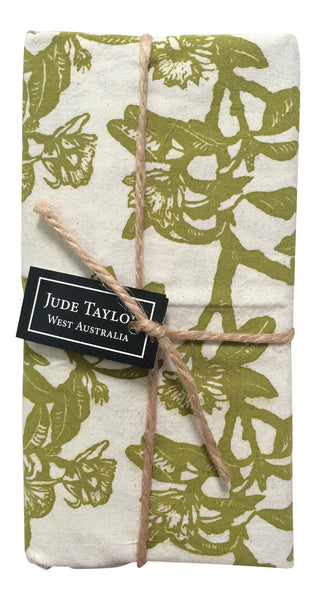 Jude Taylor Handprinted shark bay rose teatowel