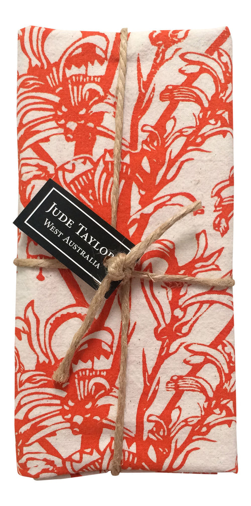 SALE - 25% OFF - Handprinted Napkin Set - Kangaroo Paw