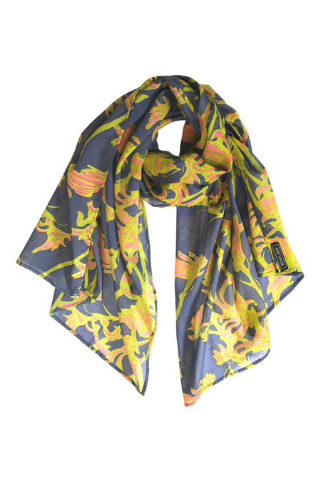 'Wattle' Fine Cotton Scarf in Apricot