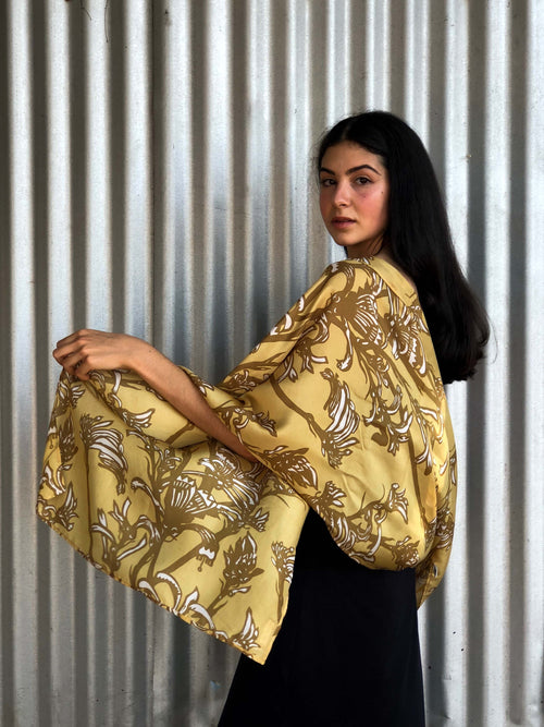 'Kangaroo Paw' Silk Scarf in Gold