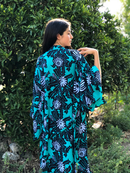 Wildflower Kimono - Abstract Banksia in Coastal
