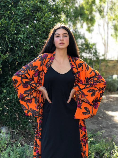 Wildflower Kimono - Shark Bay Rose in Tangerine