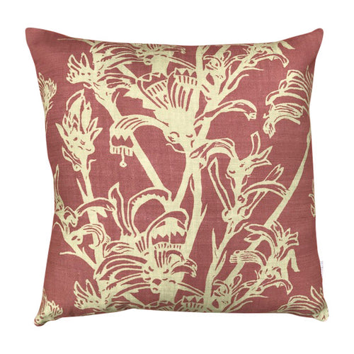 Kangaroo Paw Linen Cushion Cover - Russet