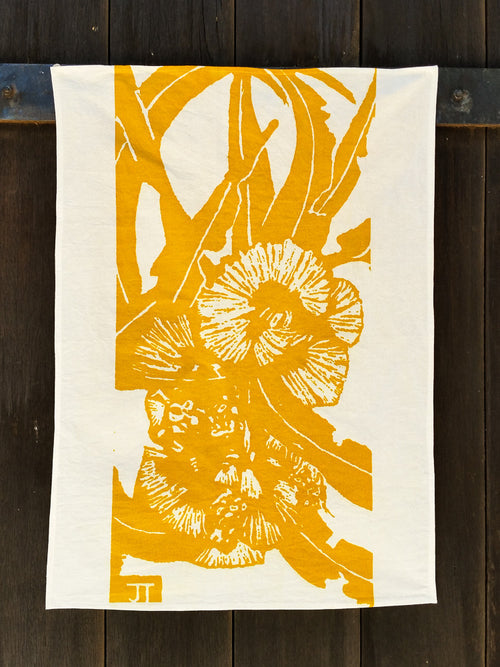 Handprinted Tea-towel – Yellow Bottlebrush