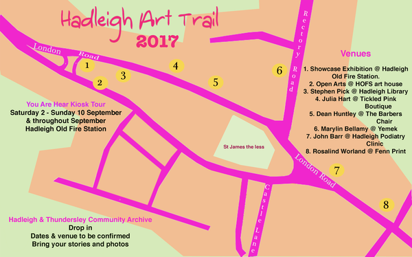 Hadleigh Art Trail map Sep 2017