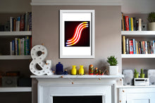 'S' Open Edition Giclée Neon Print by Stephen Pick, Lifestyle shot, white frame