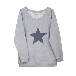 Dark grey star on light grey sweat