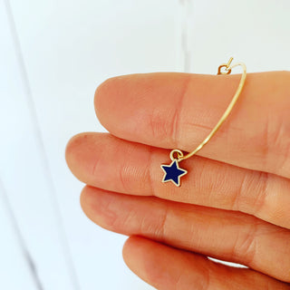 Tiny navy / gold star hoop earrings