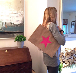 Neon pink star jute shopper