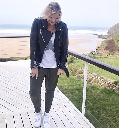 Dark grey star white vest top